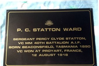 A plaque honouring Tasmanian soldier Sergeant Percy Clyde Statton