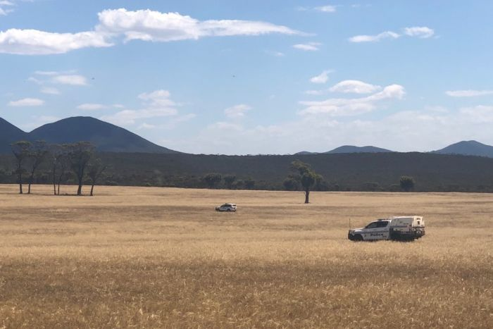 Stirling range national park with police cars in the fields