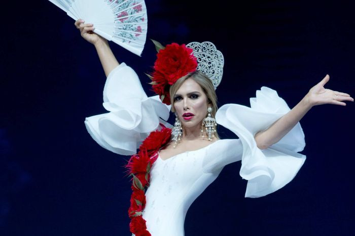 Spanish Miss Universe contestant Angela Ponce in national flamenco costume on stage