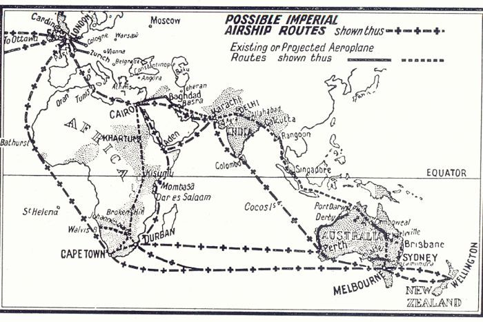 Black and white illustrated map showing potential routes between the UK and Australia.