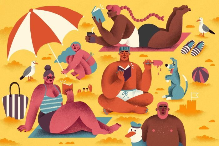 Colour illustration of various characters reading at the beach.