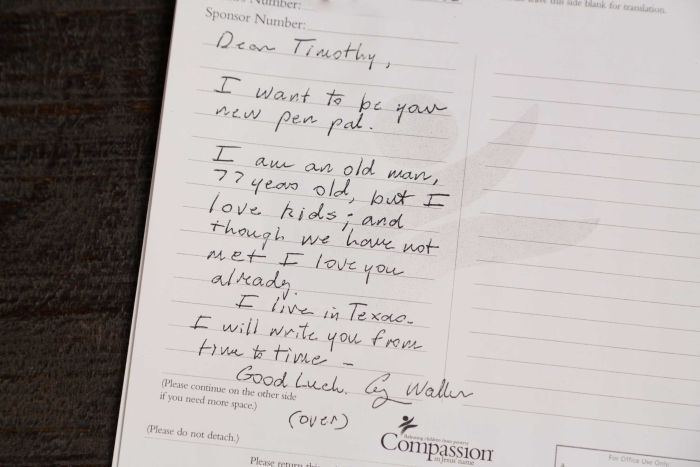 "A letter which reads: ""Dear Timothy, I want to be your new pen pal""."