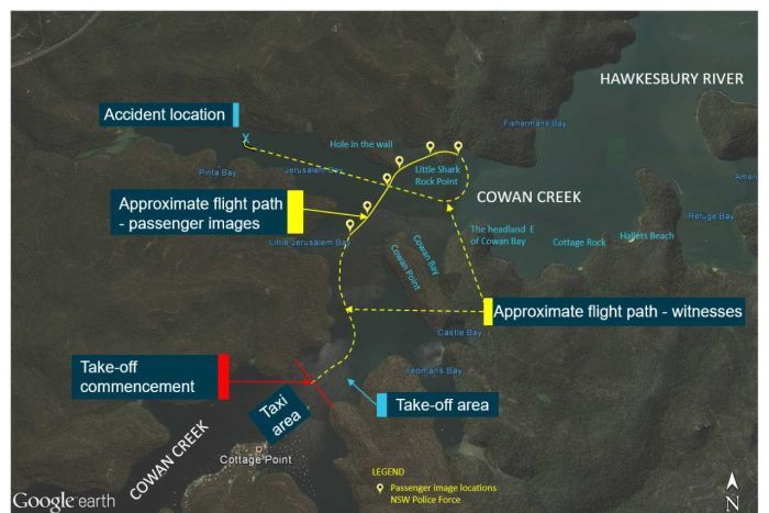 A map showing the likely path of a light plane before it crashed into a river