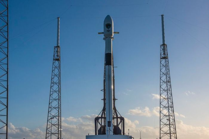 SpaceX's  Falcon 9 is waiting to take off during the day in Florida