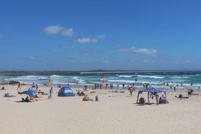 Port Macquarie's Town Beach on a windy day.