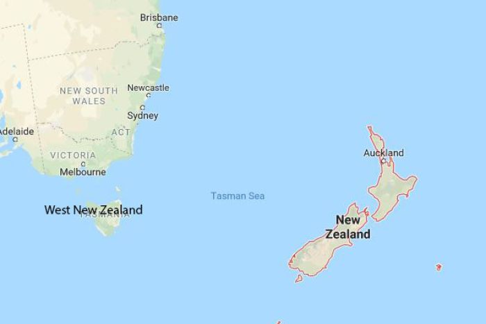 Map with Tasmania renamed West New Zealand