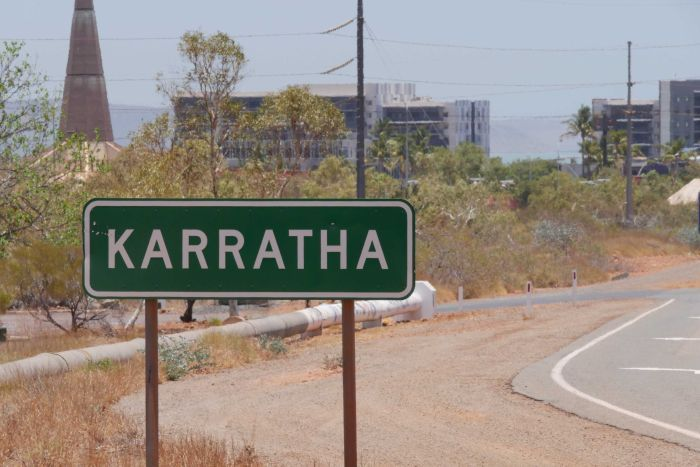 A sign of Karratha located at the entrance to the townsite