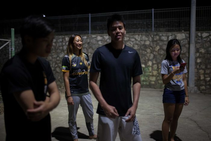 A group of Chinese young people on Christmas Island.