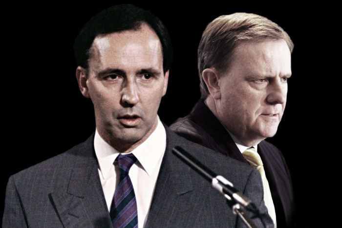 Composite image of former treasurers Paul Keating (left, and also a former PM) and Peter Costello.