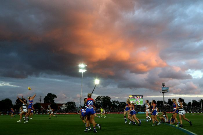 A view of play at sunset during the Round 2 AFLW match between the Bulldogs and Cats.