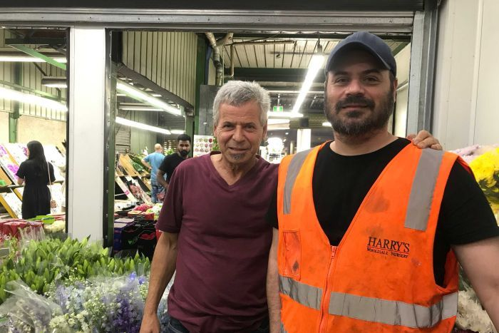 Harry and Steven Papadopoulos at Sydney's main flower market