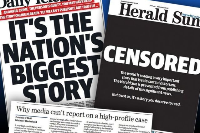 "Newspaper headlines including ""Censored"", ""It's the nation's biggest story"" and ""Why media can't report on a high-profile case""."