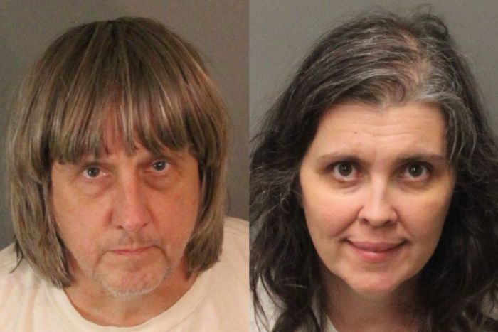 A side-by-side image of mugshots of a dishevelled looking David Turpin and Louise Turpin