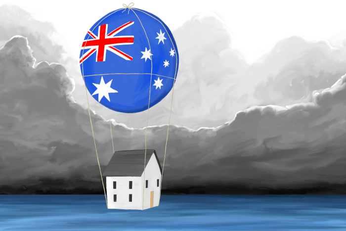 Illustration of an Australian house floating under a balloon with dark clouds around.
