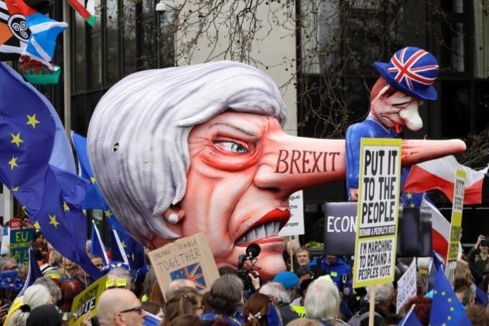 An explosion of effigies of British Prime Minister Theresa May was shown during a protest in London.