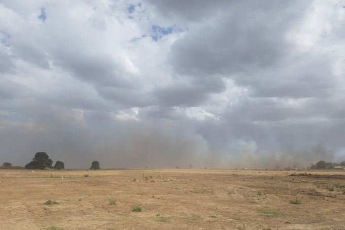 Smoke billowing from the grassfire at Haddon, Victoria.