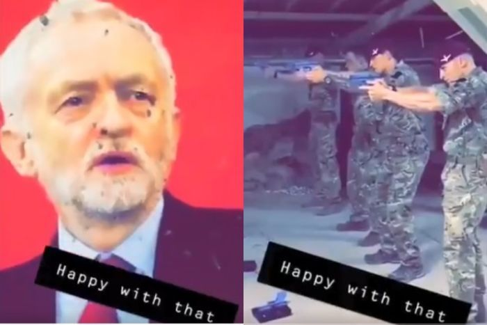 A composite image of Jeremy Corbyn's image with bullet holes on the right, soldiers pointing their guns on the left.