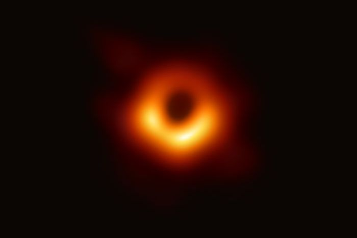 A photo of a supermassive black hole, captured by the Event Horizon Telescope project