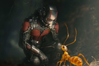 Scott Lang as Ant-Man with an ant.