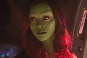 Gamora, a green alien with dark red hair.