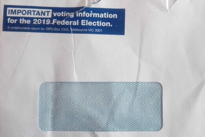 "The letter says ""Important voting information for the 2019 Federal Election""."
