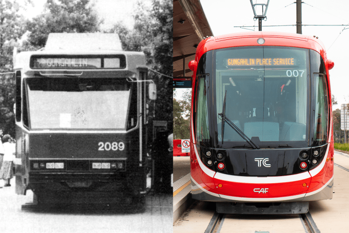 An old black and white image of a tram going to Gungahlin next to a new red light rail also going to Gungahlin.