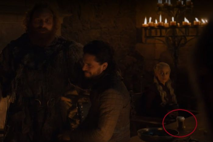 A still image showing a Starbucks cup in a scene from HBO's Game of Thrones