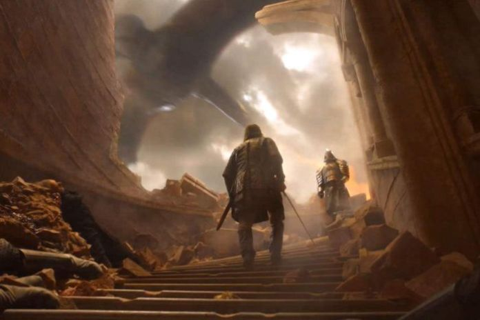 The Hound and The Mountain stand a crumbling staircase facing each other a dragon flies outside.