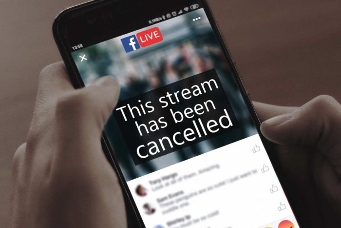 """A graphic showing a man holding a smartphone with the words """"This stream has been cancelled""""."""