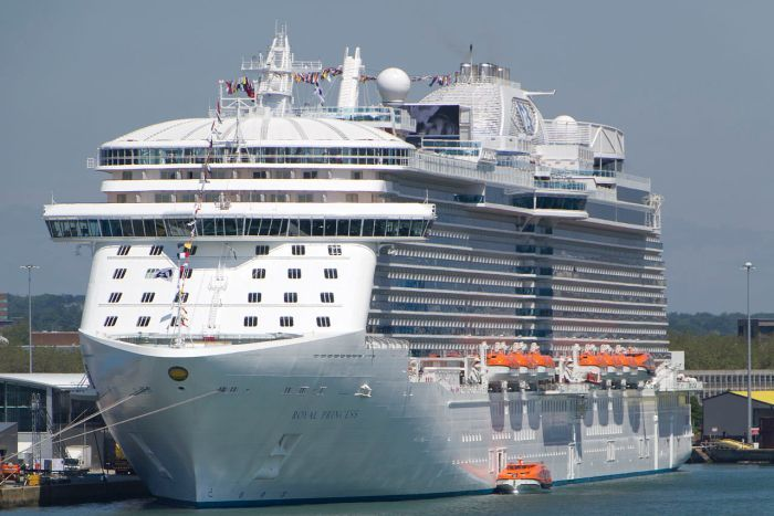 A large cruise ship is seen parked in a dock.