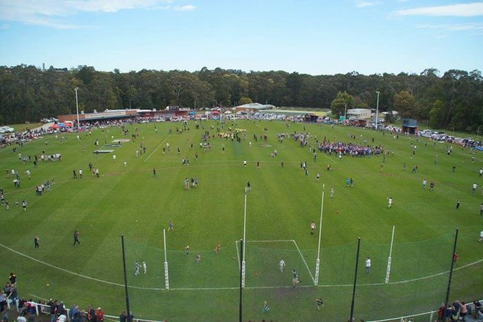 An aerial photo of a country football match in the Alberton Football Netball League
