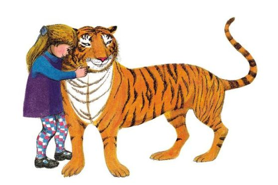 An illustration from author Judith Kerr's popular 1968 children's book, The Tiger Who Came to Tea.