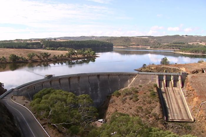 A reservoir and weir and dam wall