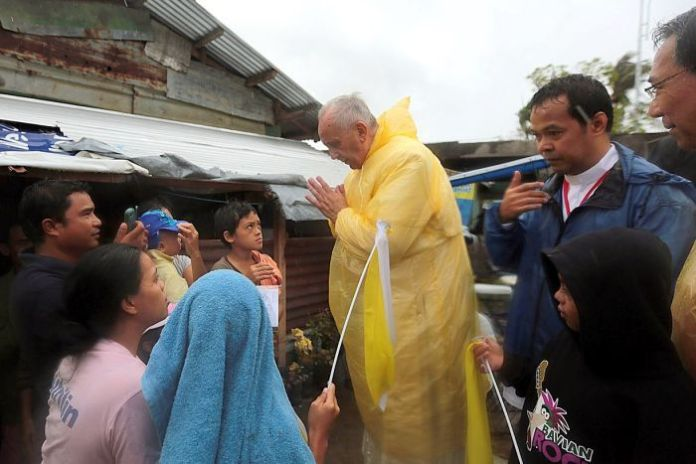 Pope Francis visits the victims of typhoon Yolanda on the island of Leyte, in the Philippines