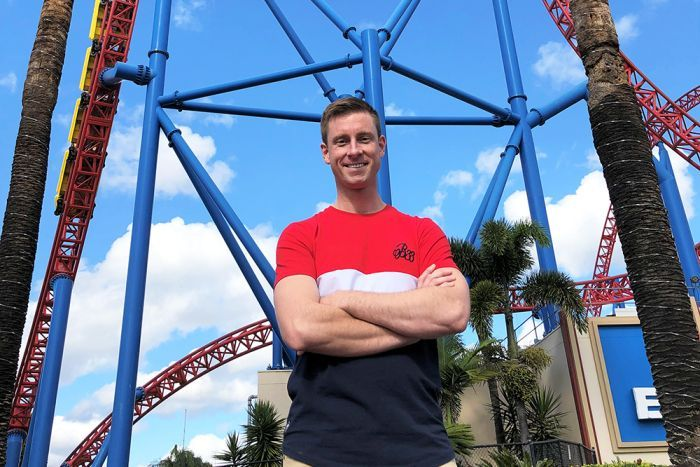 Thrill ride enthusiast Andrew Grover spends his days off work at Gold Coast theme parks