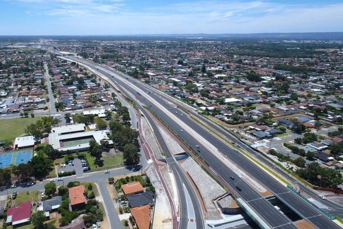 An aerial shot of the Tonkin Highway looking north.
