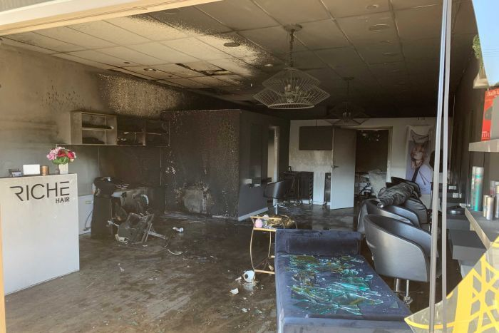 Damage inside a hair salon destroyed by fire