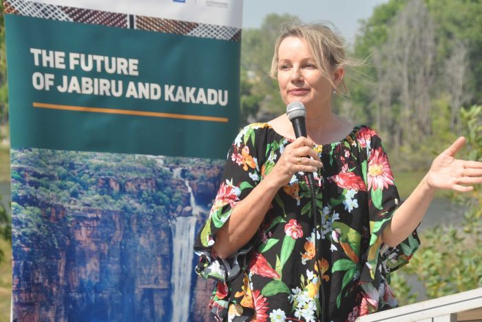 Environment Minister Sussan Ley presenting a speech in Jabiru