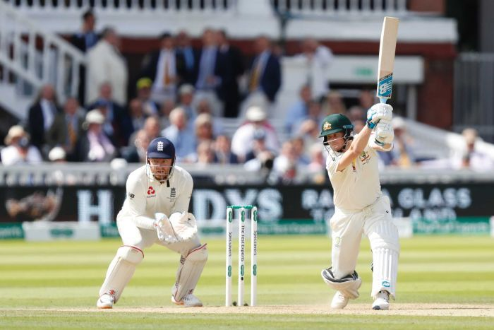 Steve Smith flicks the bat after a handsome cover drive at Lord's