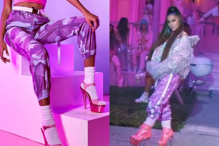 A composite image of a woman in pink camo print pants, socks and pink heels, with Ariana Grande wearing a similar outfit.