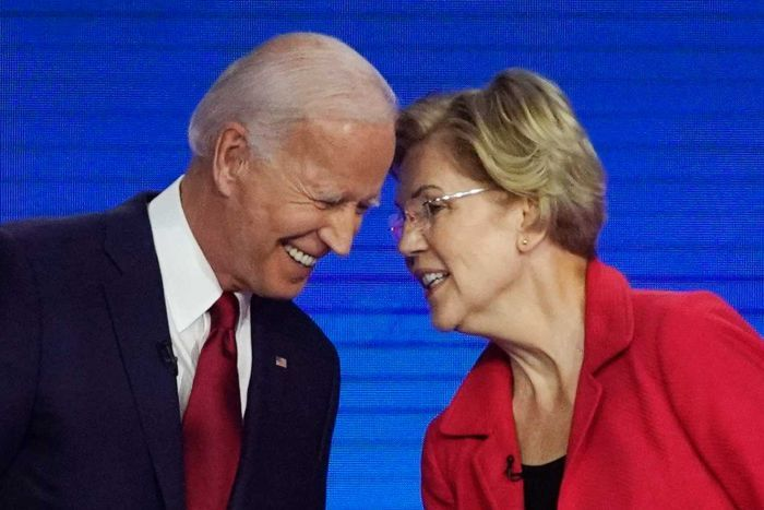 Democratic presidential candidates former Vice President Joe Biden, left and Sen. Elizabeth Warren