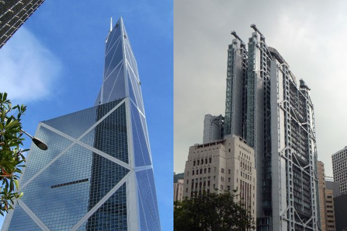 Composite images of Hong Kong's Bank of China and HSBC towers, with the former set against a blue sky and the latter grey.