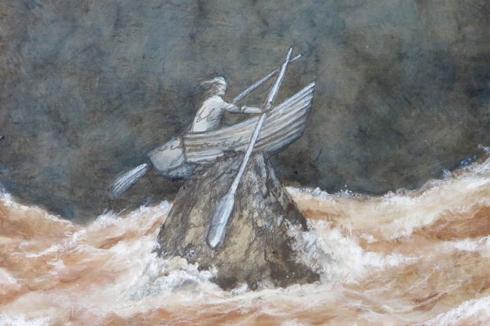 Picture of a painting of a person in a row boat on a rock