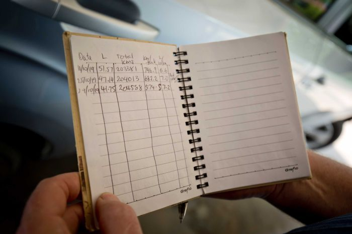 An open logbook shows the date, litres, kilometres, kilometres per tank, and litres per 100 kilometres.