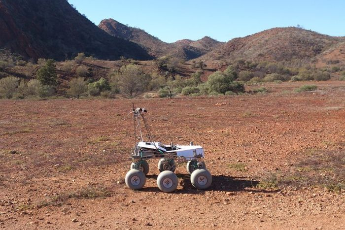 A rover space exploration device in the outback