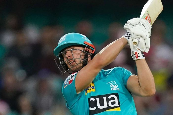 Brisbane Heat batsman Chris Lynn watches looks up as he completes his swing during a Big Bash League match.