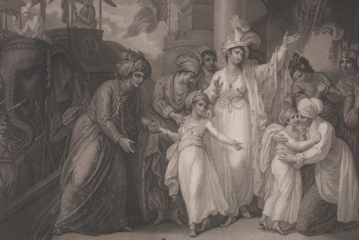 An engraving showing two boys being farewelled by a number of women. Two elephants stand to the side.
