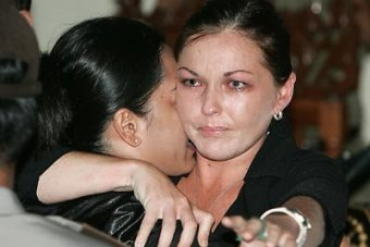 Schapelle Corby hugs a member of her legal team