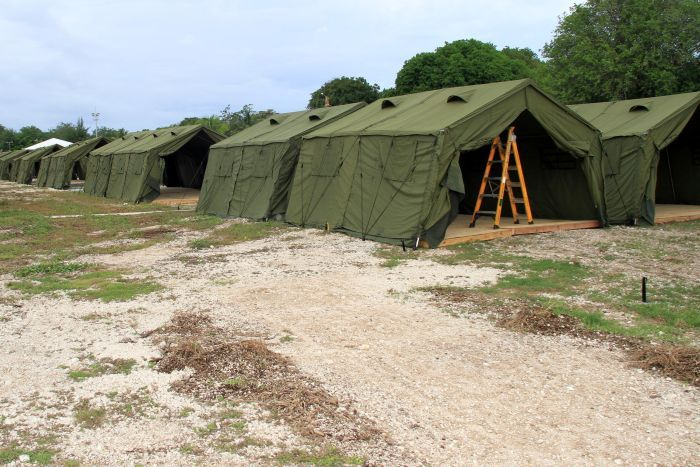 Tents to house asylum seekers on Nauru.
