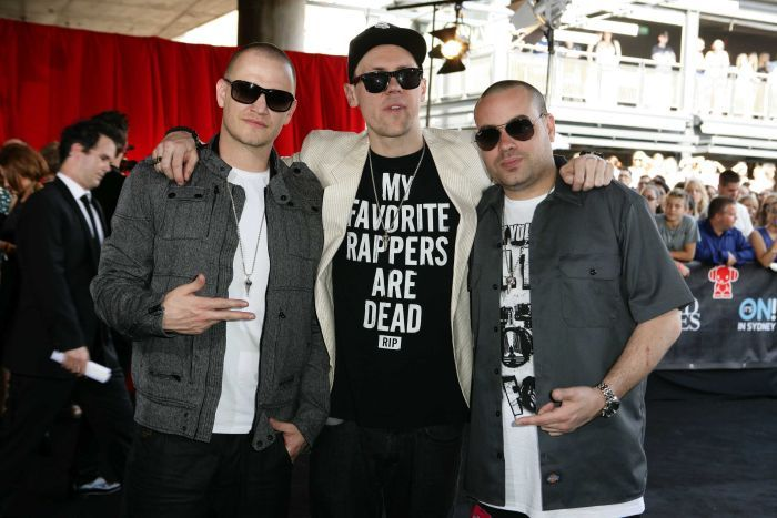 The Hilltop Hoods arrive at the 2012 ARIA Awards.